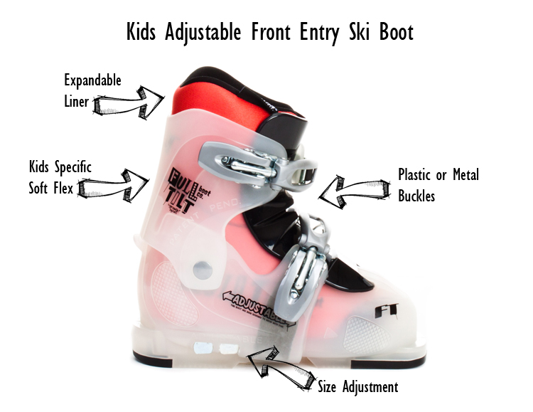 Kids Adjustable Front Entry Ski Boot