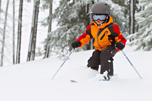 Kid Skiing Powder